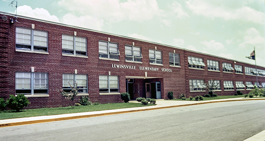 Color 35 millimeter slide photograph of the main entrance of Lewinsville Elementary School, undated.