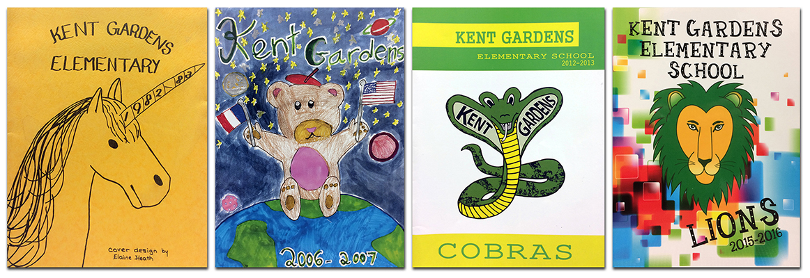 Photograph showing the covers of four Kent Gardens Elementary School yearbooks from 1983, 2007, 2013, and 2016. Each cover features a different mascot.