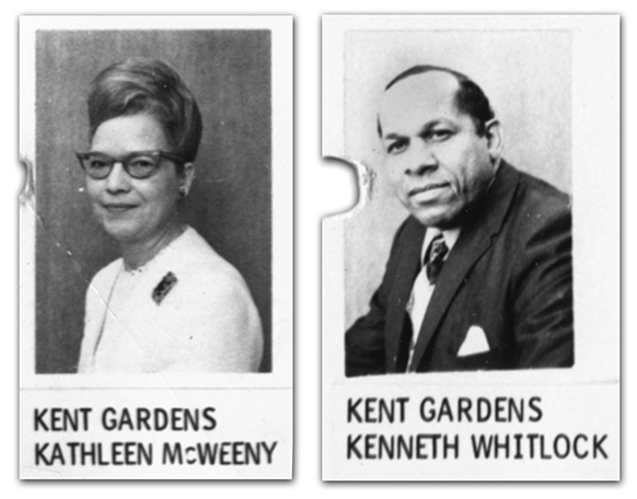 Black and white photographs of principals McWeeny and Whitlock from FCPS directories printed in 1970 and 1971.